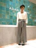 Emilyさんの「グレンチェックリボンパンツ(ADAM ET ROPE'|アダム エ ロペ)」を使ったコーディネート