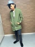 masatoさんの「<コーンミルズ社製デニム使用>デニムスキニーパンツFW/724273(RAGEBLUE|レイジブルー)」を使ったコーディネート