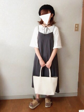 Reiさんの「レースインナー×キャミワンピセット(w closet|ダブルクローゼット)」を使ったコーディネート