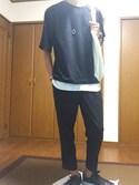 yuuyaさんの「WEGO/度詰め天竺フットボールBIGTシャツ(WEGO|ウィゴー)」を使ったコーディネート