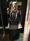 Fumino Yokoyamaさんの「【チャイハネ】チェック織りボア付きフォークロアポンチョ(チャイハネ|チャイハネ)」を使ったコーディネート