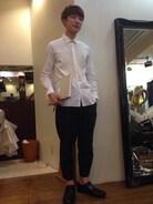 scyeのホワイトのシャツにkolorの半端丈のパンツで大人っぽく☆