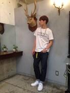 鹿です。  Tシャツ×デニムでカジュアルに合わせたサロンコーデです☆  先週から始めたWEARですが沢山のSAVEやフォローありがとうございます����✨  今後もできるだけ毎日更新して行きます✨✨✨  Tシャツ chari&co デニム A.P.C スニーカー NIKEエリックコストン×フラグメントデザイン ネックレス kazuki namiki ソックス アメアパ