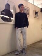 ベリーショートにしてた時のコーデですが☆  トップス Nハリウッド パンツ MHL 靴 adidas ソックス アンティパスト  ホワイト×ネイビーのコーデ☆