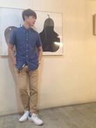ブルー×ベージュの夏のコーデ  シャツ ユニバーサルプロダクツ パンツ SCYE 靴 NIKE×フラグメントデザイン  よろしくお願いします!