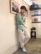 サロンスタイル☆  シャツ ジュンヤワタナベマン パンツ MHL スニーカー nike×フラグメントデザイン  七三分けで営業スタイルです♪