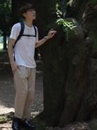 お店のファッションスナップにて代々木公園で撮影✨✨  Tシャツ sacai  パンツ ラルフローレン  バックパック アークテリクス  メガネ ayame  夏のシンプルコーデです(*^^*)