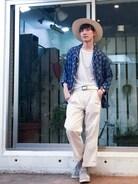 こんにちは! ヴィンテージのパジャマシャツをオールホワイトでキレイめにまとめてみました♪  夏っぽくパナマハットに足元はあえてグレーのadidasで♪  インスタグラムもたくさん更新してるので良かったら見てください♪    インスタグラムiD→JOJONAMI
