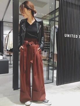 UNITED TOKYO WOMENS SHINJUKU|momocoさんの「ダブルレザーライダースジャケット(UNITED TOKYO)」を使ったコーディネート