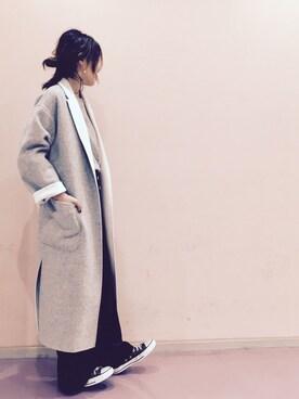 UNITED TOKYO WOMENS SHINJUKU|momocoさんの「ハンドリバーロングコート(UNITED TOKYO)」を使ったコーディネート