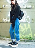 「Stella McCartney Faux glossed-leather platform brogues(Stella McCartney)」 using this Shinoko Itakura looks