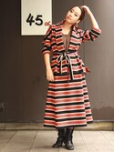 Chihiro Washidaさんの「ジャージフラノボーダースカート(45R|フォーティファイブ・アール)」を使ったコーディネート
