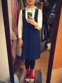 Chen chin yiさんの「デニム/バイオフェード加工ジャンパースカート(peu pres|プープレ)」を使ったコーディネート