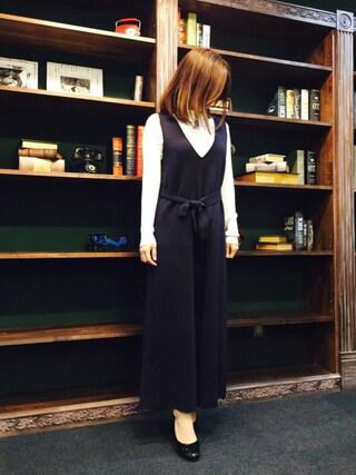 STYLEST|aya*meさんの「<サンドバーグ直美さん着用>共地ベルト付ニットオールインワン(STYLEST|スタイレスト)」を使ったコーディネート