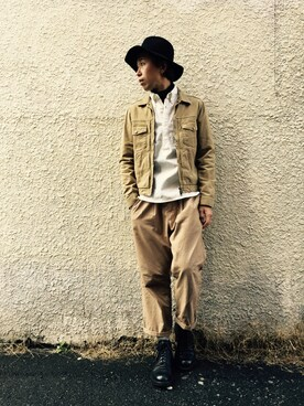 WALK IN CLOSET 代官山|手嶋 祐生さんの「HI STRETCH OVERDYED TWILL / ZIP UP G-JACKET(MR.OLIVE)」を使ったコーディネート