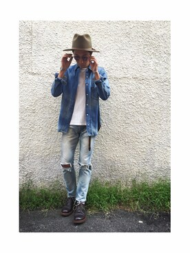 WALK IN CLOSET 代官山|手嶋 祐生さんの「VINTAGE WASH LIGHT DENIM / LONG SLEEVE WORK SHIRT(MR.OLIVE)」を使ったコーディネート