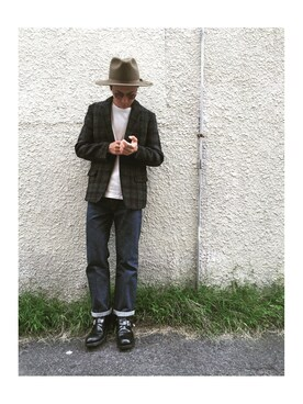 WALK IN CLOSET 代官山|手嶋 祐生さんの「HARRIS TWEED BLACK CHECK / ROLLING DOWN 3B NOTCHED LAPEL JACKET(MR.OLIVE)」を使ったコーディネート