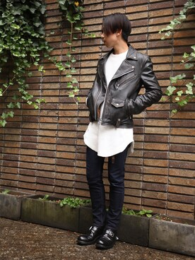 WALK IN CLOSET 代官山|手嶋 祐生さんの「TWICE DYED COW LEATHER / VINTAGE CRAFT DOUBLE SPORTS RIDERS(MR.OLIVE)」を使ったコーディネート