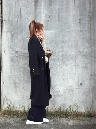 Chinatsu♡さんの「Wool wide pants(BLACK BY MOUSSY|ブラックバイマウジー)」を使ったコーディネート