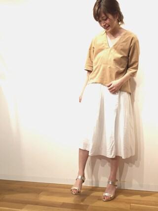 RANDA 本社|nishiさんの「ギャザーフレアスカート(RANDA|ランダ)」を使ったコーディネート