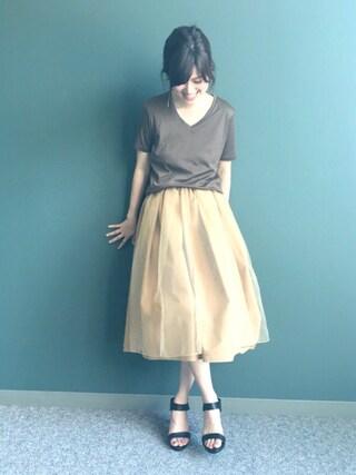 RANDA 本社|nishiさんの「【日本製】シンプルVネックTシャツ(RANDA|ランダ)」を使ったコーディネート