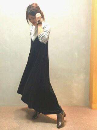 RANDA 本社|nishiさんの「ベロアスリーブレスドレス(RANDA|ランダ)」を使ったコーディネート