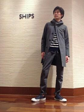 SHIPS 岡山店|萬さんの「SC: ウール/ツイル フーデッド コート(SHIPS)」を使ったコーディネート