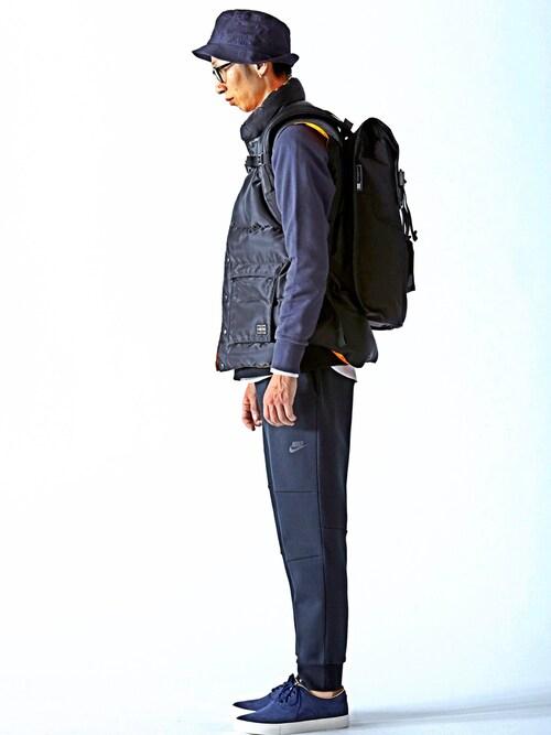 ダウンベスト着こなしメンズのバックパック/リュック「BEAMS MISSIONWORKSHOP / VX Rucksack」を使ったコーディネート