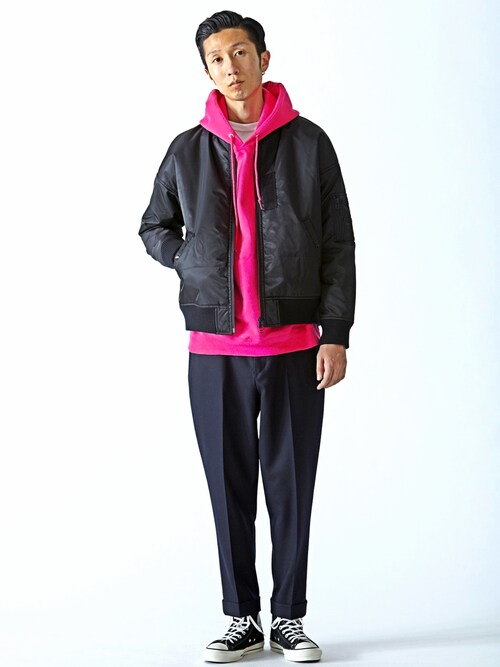 SHIMIZU/BEAMS  MDさんの「【予約】BEAMS / BIGシルエット MA-1ジャケット(BEAMS)」を使ったコーディネート