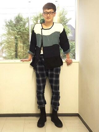 「Oblique check pants(VIRGO)」 using this ロバート馬場裕之 looks
