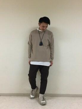 RAGEBLUE町田モディ店|小林さんのTシャツ/カットソー「ウール混裏毛ドロップスウェットクルー/740892(RAGEBLUE|レイジブルー)」を使ったコーディネート