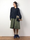 m.yさんの「【選べる2タイプの丈】リブ イン コンフォート 上品 カジュアルスタイルを作る スカートみたいな軽やかガウチョパンツ/スカーチョ/スカンツ(Live in comfort リブインコンフォート)」を使ったコーディネート