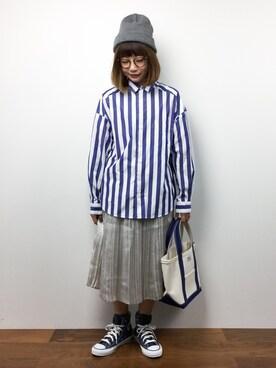 ZOZOTOWN|いぴさんの「先染ストライプチェック    BIGシャツ(CHILD WOMAN)」を使ったコーディネート