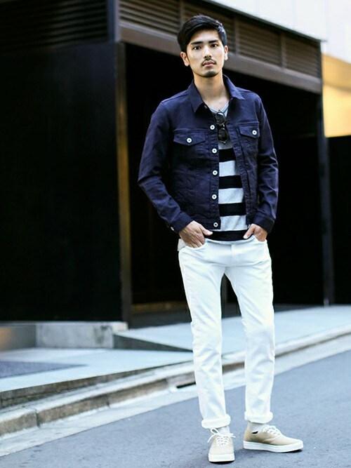 デニムジャケット着こなしメンズのデニムジャケット「nano・universe 中白染めスキニーGジャン」を使ったコーディネート
