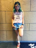 Hard Rock Cafe JAPANさんの「I'M WITH THE BAND TANK(Hard Rock Cafe|ハードロックカフェ)」を使ったコーディネート