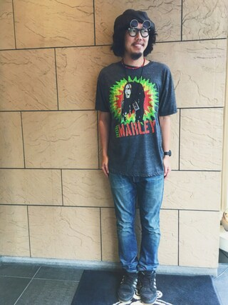Hard Rock Cafe JAPAN|Hard Rock Cafe JAPANさんの「Bob Marley T(Hard Rock Cafe|ハードロックカフェ)」を使ったコーディネート