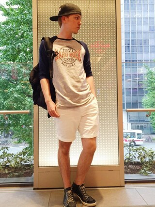 Hard Rock Cafe JAPAN|Hard Rock Cafe JAPANさんの「Baseball Raglan(Hard Rock Cafe|ハードロックカフェ)」を使ったコーディネート