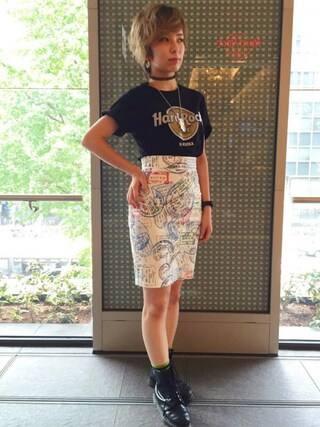 Hard Rock Cafe JAPAN|Hard Rock Cafe JAPANさんの「Wood Panel T(Hard Rock Cafe|ハードロックカフェ)」を使ったコーディネート