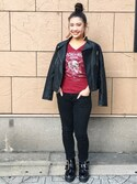 Hard Rock Cafe JAPANさんの「Ladies Motor Jacket(Hard Rock Cafe|ハードロックカフェ)」を使ったコーディネート