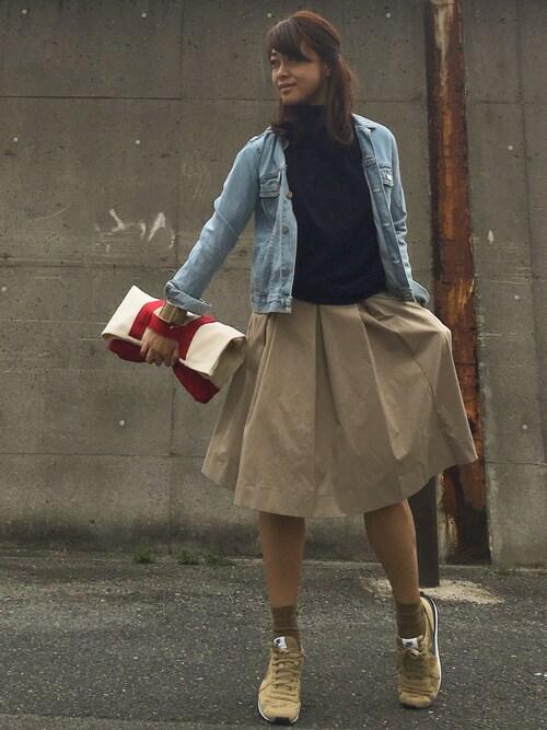 miyacoさんの「WOMEN タックスカート(ユニクロ)」を使ったコーディネート