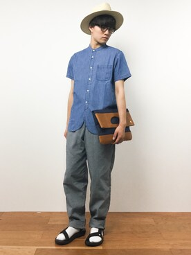 ZOZOTOWN|KAZ.さんの「DOORS Denim Band S/S Shirts(URBAN RESEARCH DOORS MENS)」を使ったコーディネート