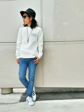 AVIREX富士見|mr.sakuraiさんの「avirex/アヴィレックス/ L/S BIG WAFFLE CREW NECK T-SHIRT/ ビッグワッフル クルーネック Tシャツ(AVIREX)」を使ったコーディネート