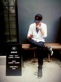 吳雨誠さんの「Qasa Leather-Trimmed Neoprene High-Top Sneakers(Y-3|ワイスリー)」を使ったコーディネート