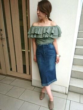 RANDA 高松店|misako yanoさんの「ダメージデニムスカート(RANDA)」を使ったコーディネート