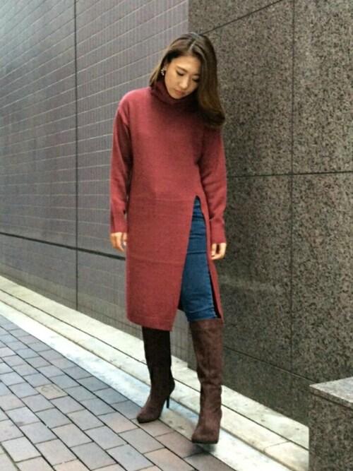 misako yanoさんの「サイドスリットニットワンピース(RANDA)」を使ったコーディネート