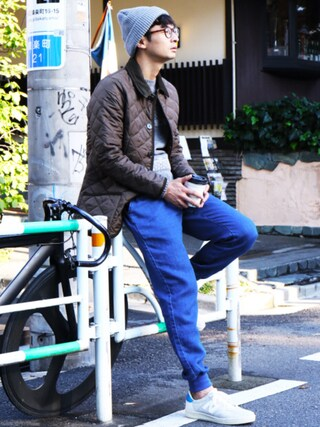 「【WEB+ららぽーと店限定販売】インディゴスウェットジョガーパンツ(MYSELF ABAHOUSE)」 using this junya_kasuga looks