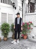 「Grey/Ecru Twist Cable Crew Neck Sweater(Topman)」 using this Ah Koo looks
