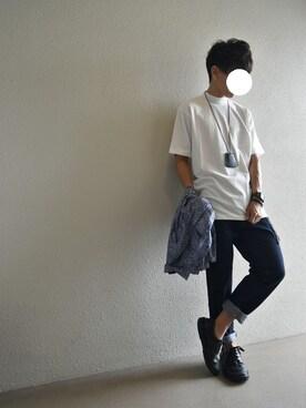 UuakaMTNさんの「USAコットン天竺 半袖ボトルネックTシャツ(SEVENDAYS=SUNDAY セブンデイズサンデイ)」を使ったコーディネート