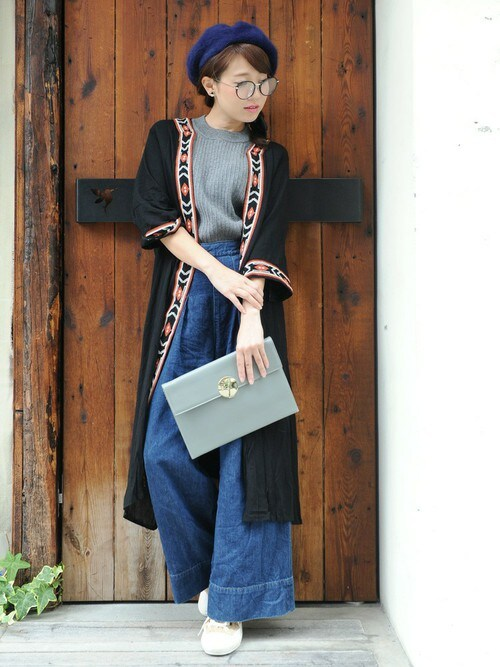 chikaさんの「ロング刺繍入りカーディガン【PLAIN CLOTHING】(PLAIN CLOTHING)」を使ったコーディネート
