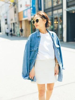 伊地知朋子さんの「HANES / T-SHIRTS Japan Fit ジャパンフィット(2枚組)クルーネックTシャツ(BEAMS ビームス)」を使ったコーディネート